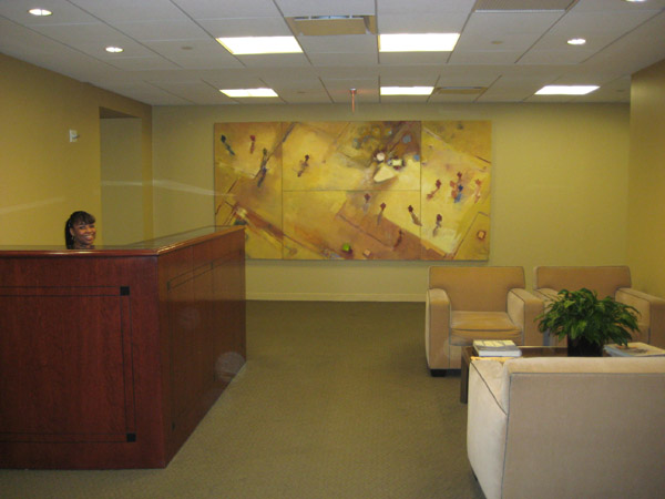 Corporate picture installation office reception area